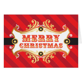 Merry Christmas Card, RED Holiday Carnival Card