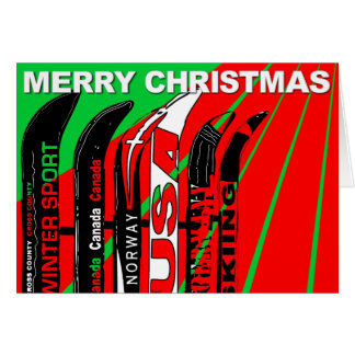 Merry Christmas Card Ski Snow Blade Winter Sport