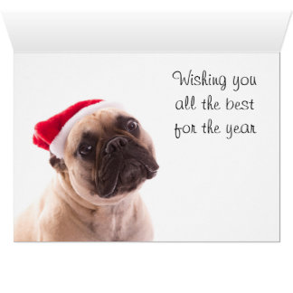 Merry Christmas Card with a French Bulldog