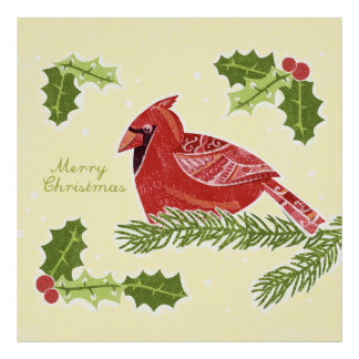 Merry Christmas Cardinal Bird on Branch with Holly Posters