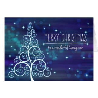 Merry Christmas Caregiver, Bokeh Effect & Tree Card