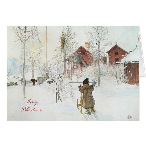 Merry Christmas  Carl Larsson Art Greeting Card