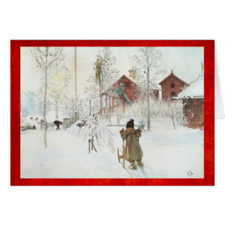 Merry Christmas Carl Larsson Vintage Winter Scene Card