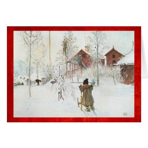 Merry Christmas Carl Larsson Vintage Winter Scene Greeting Cards