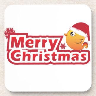 Merry Christmas cartoon baby bird coaster