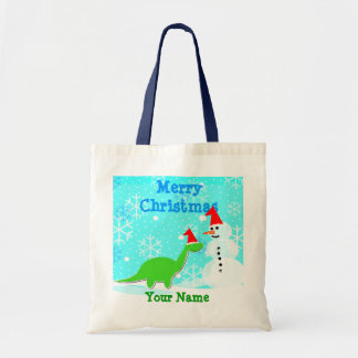 Merry Christmas Cartoon Dinosaur Snowman Bag/ Tote