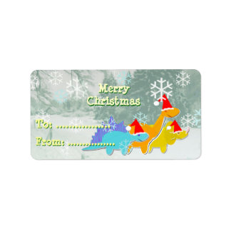 Merry Christmas Cartoon Dinosaurs Gift Labels
