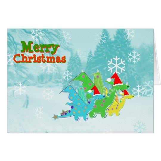 Merry Christmas Cartoon Dragons Card