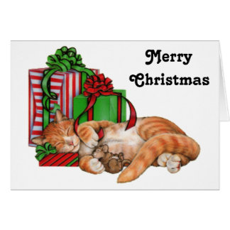 Merry Christmas Cat, Mouse and Christmas Presents Greeting Card