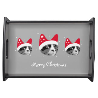 Merry Christmas Cat with Santa Hat Serving Tray