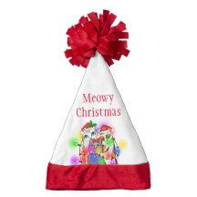 Merry Christmas Cats Funny Santa Hat