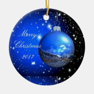Merry Christmas celestial customized Round Ceramic Decoration