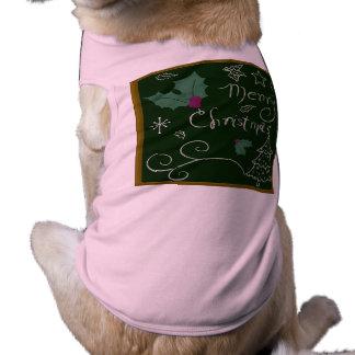 Merry Christmas Chalkboard Dog Tee
