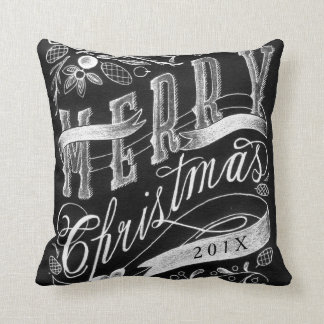 Merry Christmas Chalkboard Hand Lettering w/ Year Throw Pillow