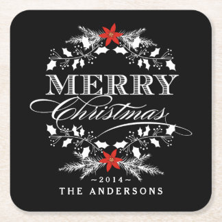 Merry Christmas Chalkboard Holly Wreath Typography Square Paper Coaster