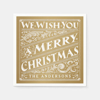 MERRY CHRISTMAS CHALKBOARD PERSONALIZED NAPKINS DISPOSABLE SERVIETTES