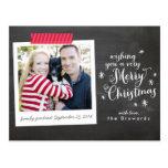 Merry Christmas Chalkboard Polaroid Postcard