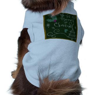 Merry Christmas Chalkboard Sleeveless Dog Shirt
