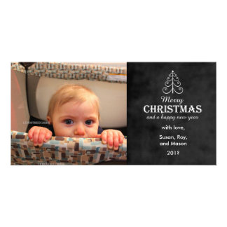 Merry Christmas Chalkboard with tree photo card