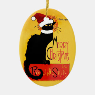 Merry Christmas -  Chat Noir Ceramic Oval Decoration