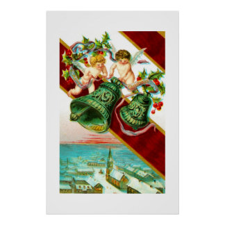 Merry Christmas cherubs and bells Print