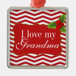 Merry Christmas Chevron I love my Grandma Silver-Colored Square Decoration