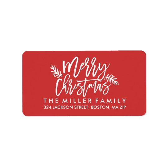 Merry Christmas Chic Hand Lettered Holiday Address Label