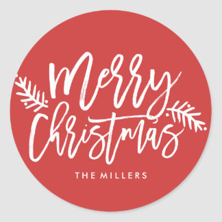 Merry Christmas Chic Hand Lettered Holiday Classic Round Sticker