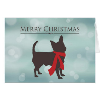 Merry Christmas, Chihuahua in Red Scarf, Bokeh Eff Card