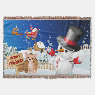 Merry Christmas Chihuahua With Frosty Throw Blanket