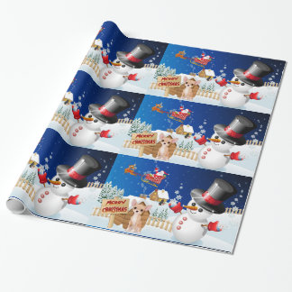Merry Christmas Chihuahua With Frosty Wrapping Paper