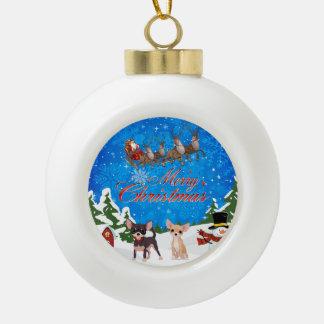 Merry Christmas Chihuahua With Santa Ceramic Ball Christmas Ornament