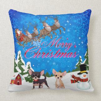 Merry Christmas Chihuahua With Santa Cushion