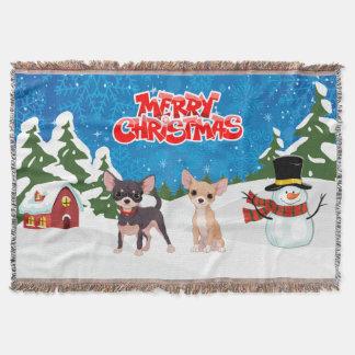 Merry Christmas Chihuahuas Throw Blanket