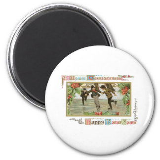 Merry Christmas! Children Ice Skating on a Lake 6 Cm Round Magnet