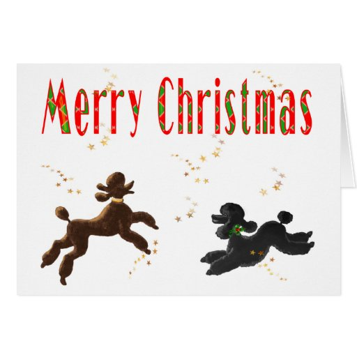 Merry Christmas Chocolate & Black Poodles Playing Cards