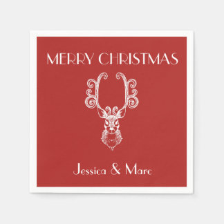 MERRY CHRISTMAS Christmas Red & White Reindeer Disposable Napkins