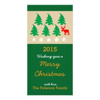 Merry Christmas, Christmas tree Reindeer Snowflake Photo Greeting Card