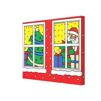 Merry Christmas, Christmas  windows Stretched Canvas Print