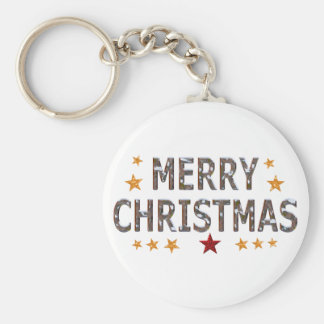 Merry Christmas Chrome Button Keychain