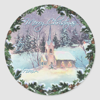 MERRY CHRISTMAS CHURCH & WREATH by SHARON SHARPE Round Sticker