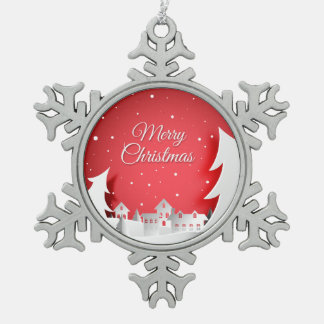 Merry Christmas City Pewter Snowflake Ornament