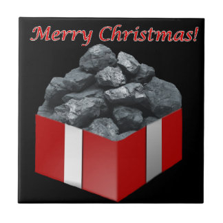 Merry Christmas Coal Present Small Square Tile