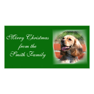 Merry Christmas Cocker Spaniel Photocard Custom Photo Card