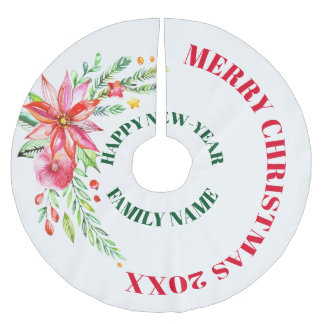 Merry Christmas Colorful Flowers Bouquet Brushed Polyester Tree Skirt