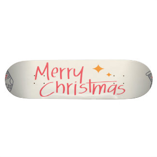 Merry Christmas Colorful Symbols Seamless Pattern Skate Deck