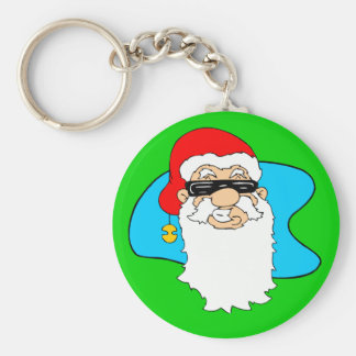 Merry Christmas Cool Santa In Sunglasses Basic Round Button Key Ring