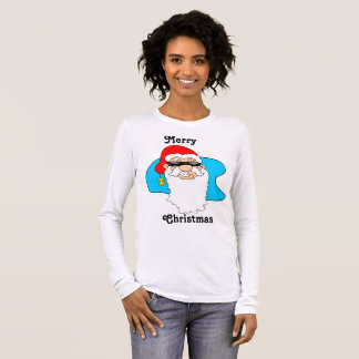 Merry Christmas Cool Santa In Sunglasses Long Sleeve T-Shirt