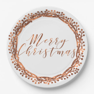 Merry Christmas copper-look berry wreath design Paper Plate