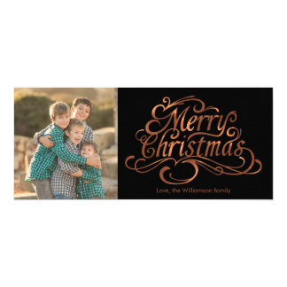 Merry Christmas copper-look script photo design Card